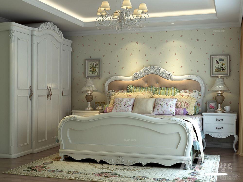 两室一厅简欧风格小卧室_水榭春天5期装修效果图-x团图片