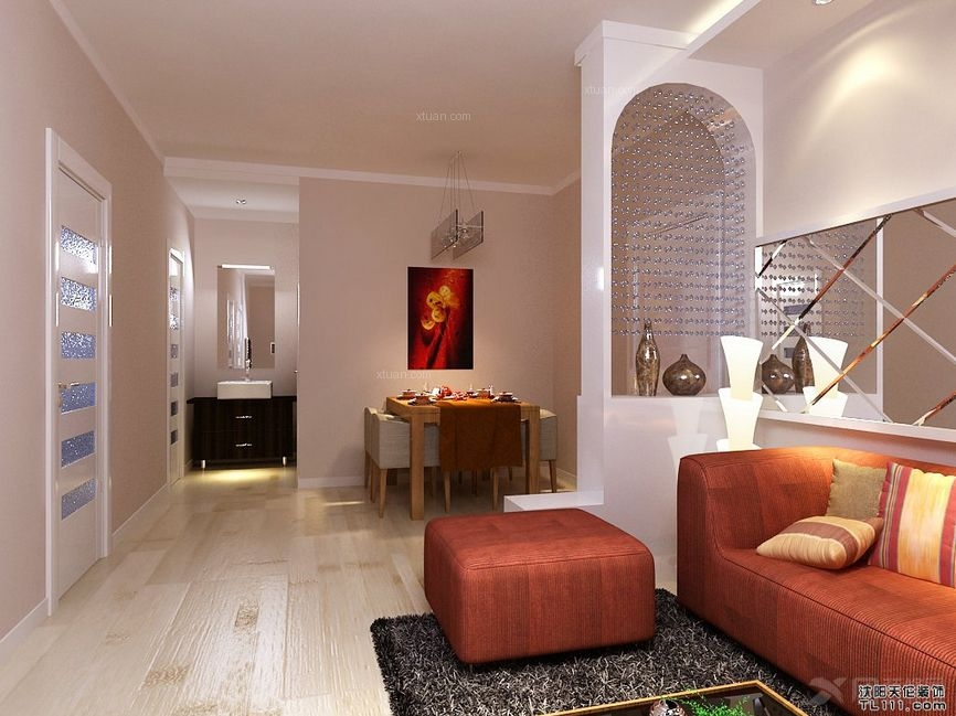 一室一厅现代简约客厅_沈阳天伦装饰—爵仕观邸案例
