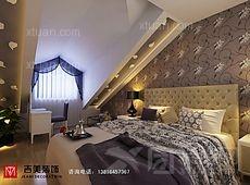 别墅现代简约卧室卧室背景墙