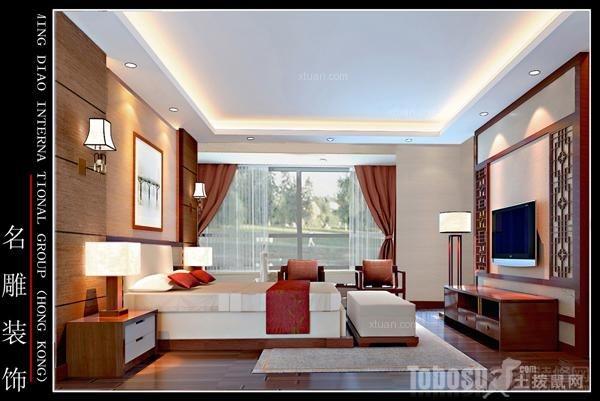 金田苑普通住宅4室2厅2卫新中式装修案例效果图