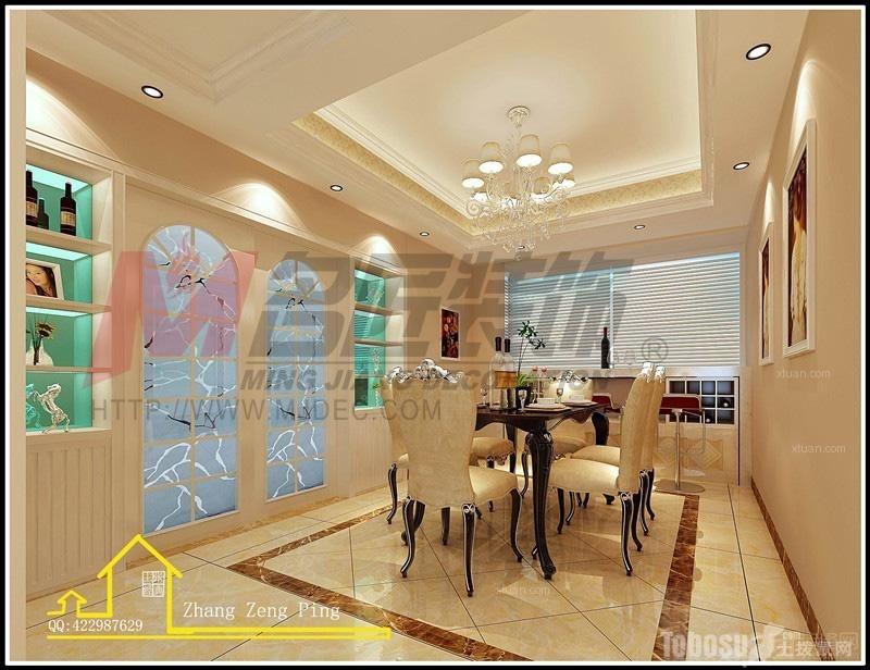 【伟豪领御】普通住宅3室2厅2卫简欧装修案例效果图