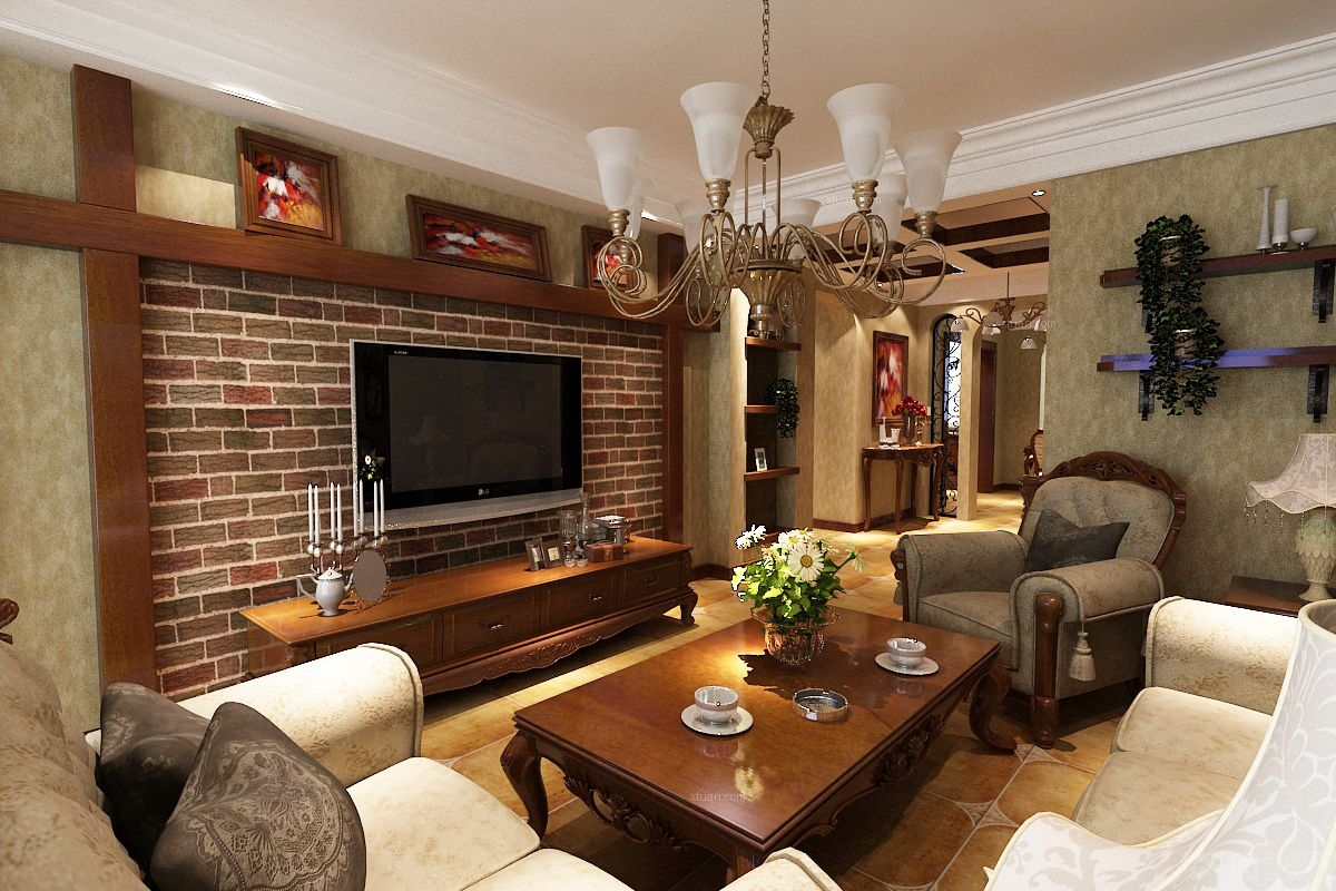 三居室美式风格客厅_嘉和新城装修效果图图片