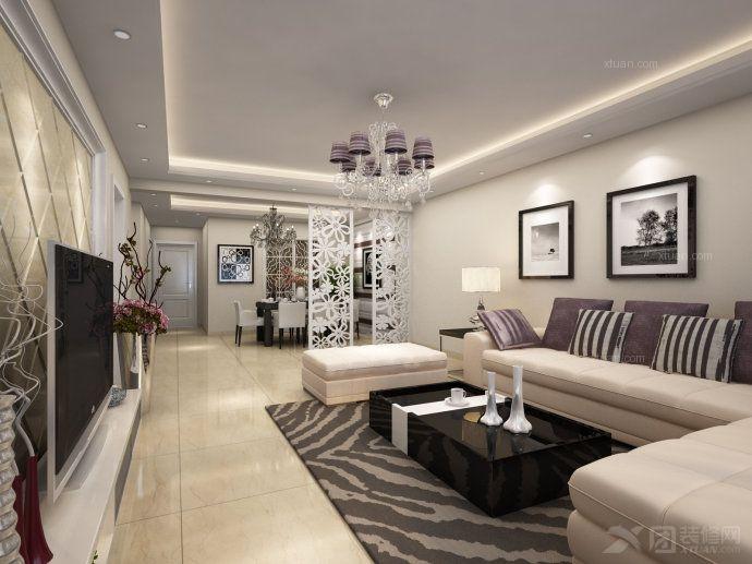 两居室现代简约客厅照片墙
