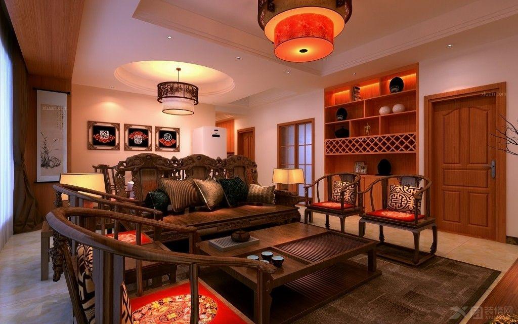 四居室中式风格客厅沙发背景墙