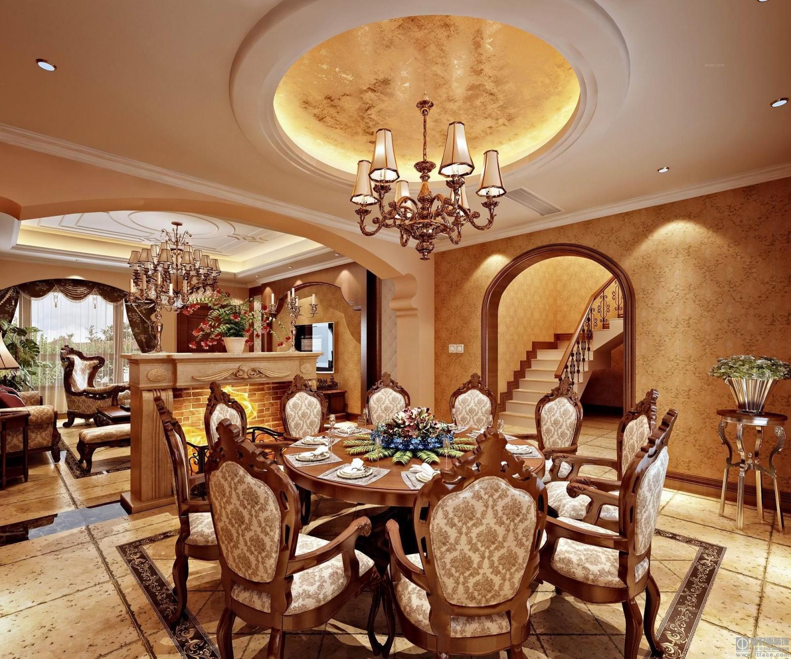 三居室简欧风格餐厅圆形吊顶图片