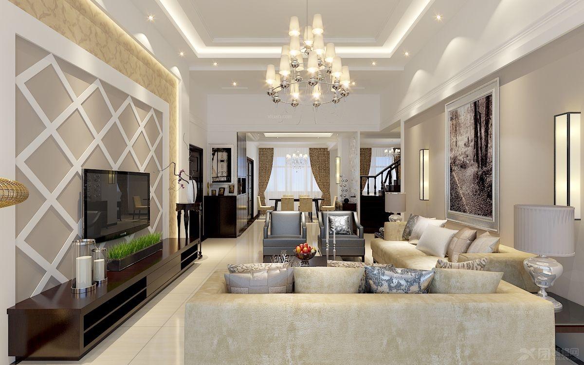 复式楼简欧风格客厅_中天花园装修效果图图片