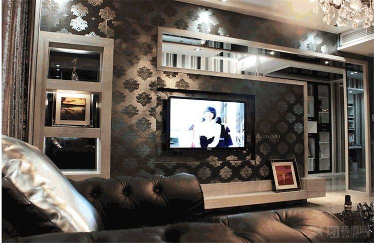 三室两厅东南亚风格客厅电视背景墙