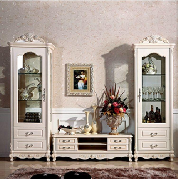 欧式电视柜 田园地柜 玫瑰雕花描银 简约卧室客厅组合