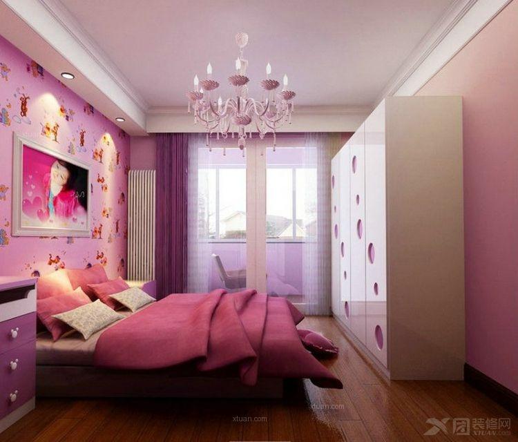两室一厅美式风格婴儿房卧室背景墙