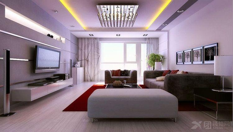 一室一厅现代简约客厅影视墙