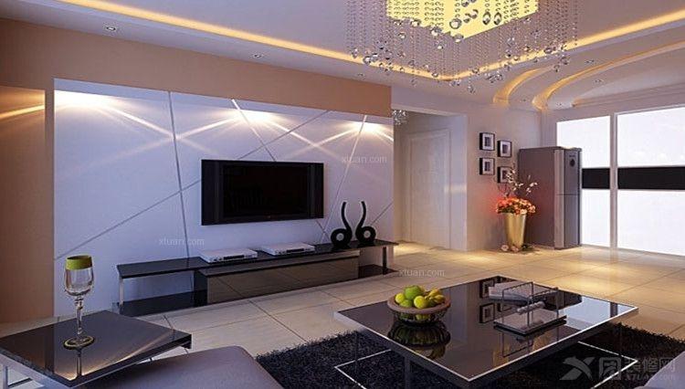 一室一厅现代简约客厅电视背景墙
