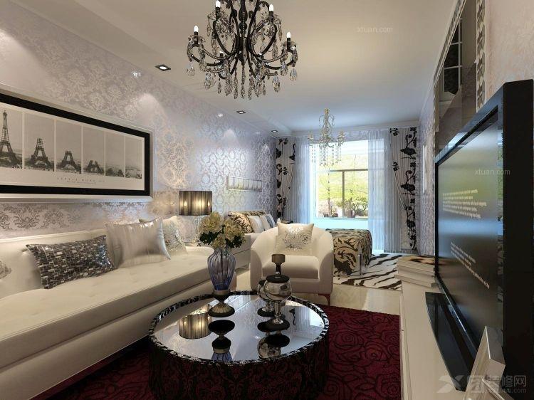 一室一厅简约风格客厅沙发背景墙