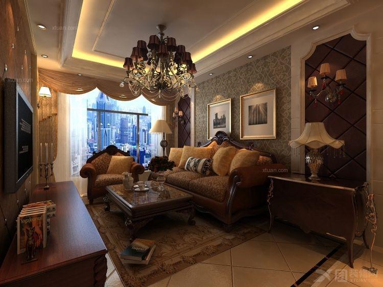 两室两厅古典风格客厅沙发背景墙