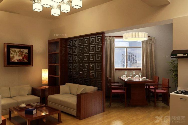 一室一厅中式风格客厅沙发背景墙