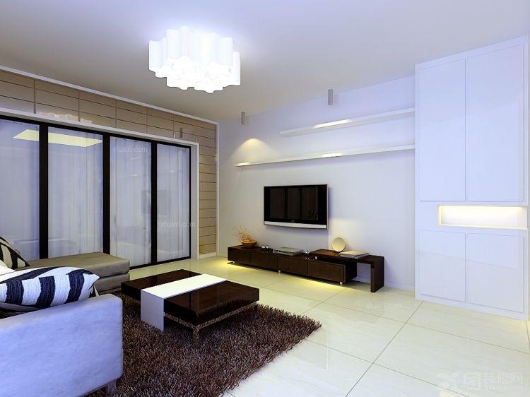 两居室现代简约客厅_北三环双安商场公寓楼装修效果图图片