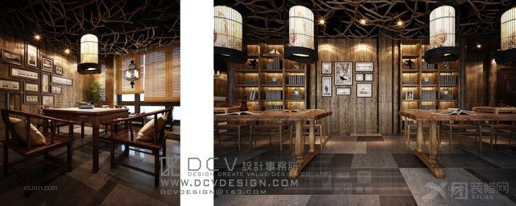 西安休闲会所室内设计—泾阳德林主题餐厅 茶秀棋牌 复古怀旧