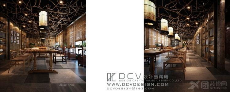 西安休闲会所室内设计—泾阳德林主题餐厅 茶秀棋牌 复古怀旧装修效果