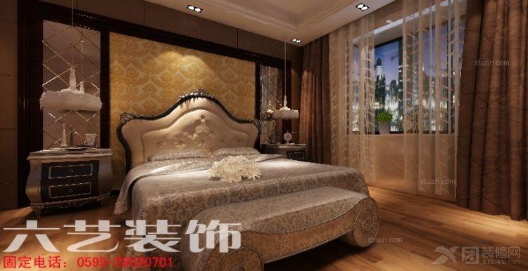 复式楼欧式风格主卧室卧室背景墙图片