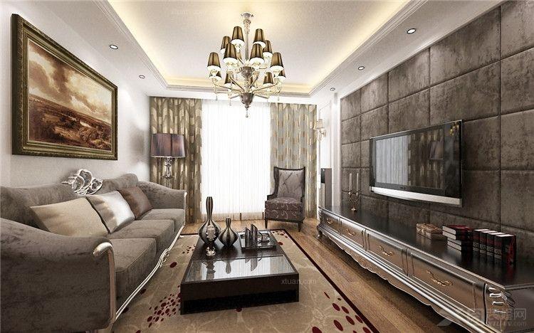 复式楼欧式风格客厅影视墙