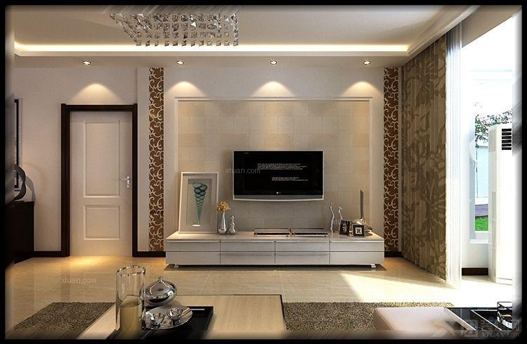 三室两厅现代简约客厅电视背景墙图片