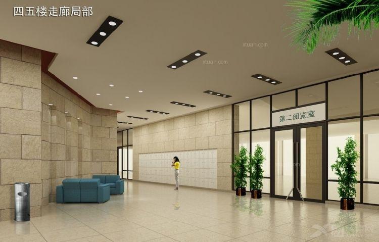 图书馆阅览室走廊局部图装修效果图