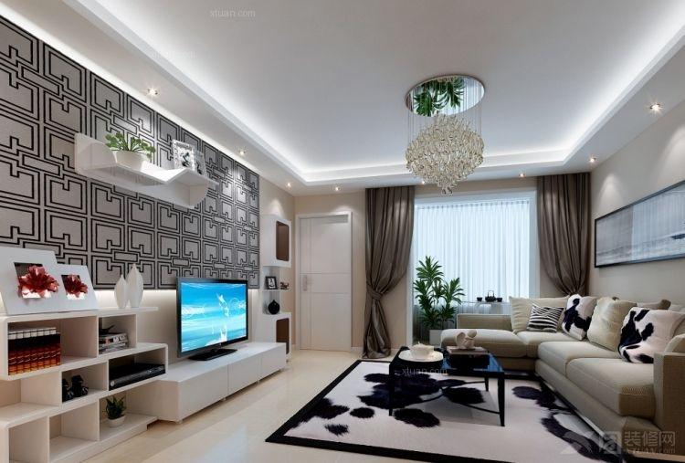 八里庄小区92平米2居室现代简约风格装修效果图