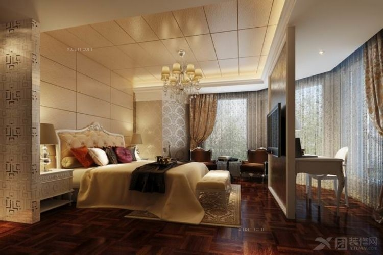 四居室欧式风格卧室背景墙