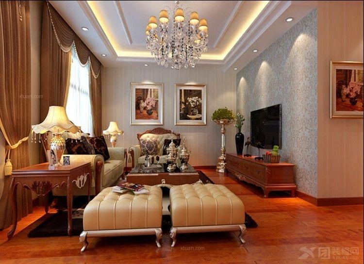 三居室欧式风格客厅_丽泽景园小区135平米简欧式风格图片