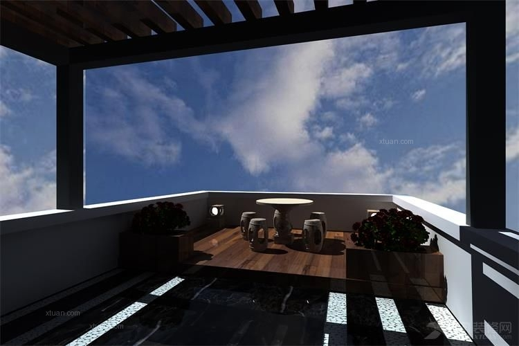 别墅中式风格露台