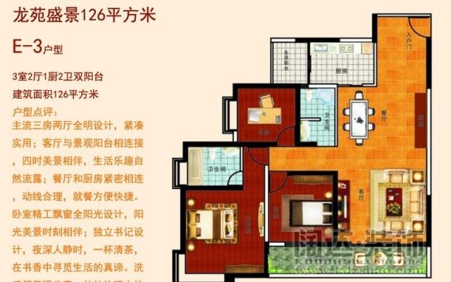 龙苑盛景126平方米三居室户型现代风格