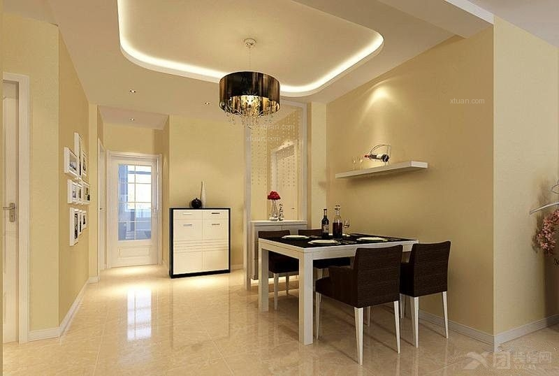 四居室现代简约餐厅圆形吊顶
