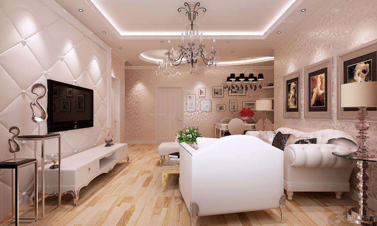 三居室简欧风格客厅电视背景墙