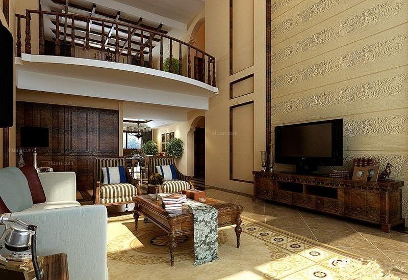 复式楼美式风格客厅软装