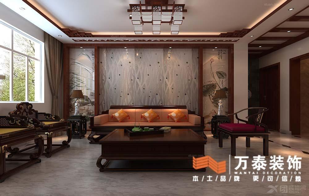 三居室中式风格客厅沙发背景墙图片