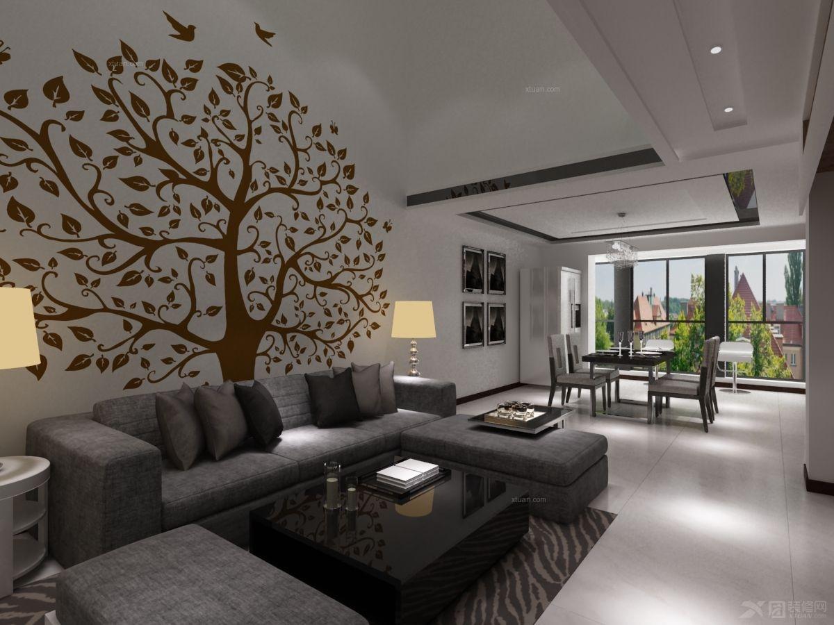 跃层现代简约客厅沙发背景墙_森林半岛装修效果图-x团