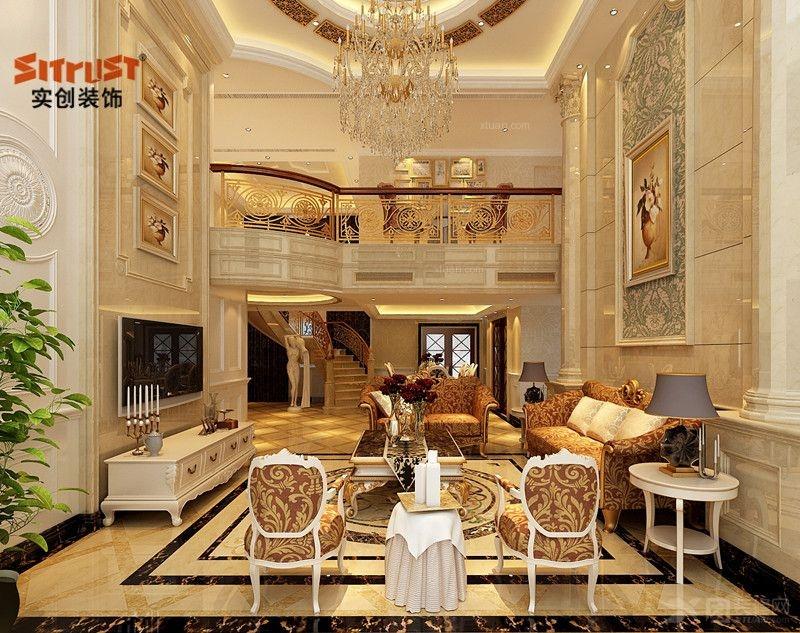 奢华欧式搭配实木家具的别墅设计