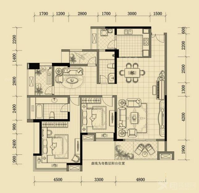 成都华侨城天鹅堡135平简欧风格装修案例