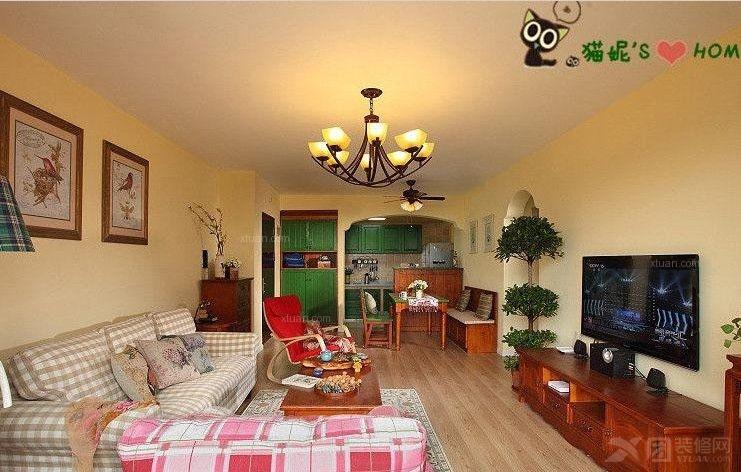 三室一厅美式风格客厅