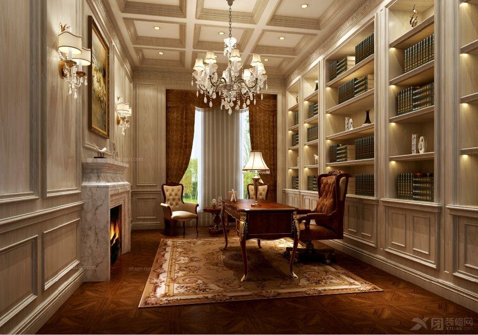 别墅古典风格书房_上海南郊别墅欧式新古典设计装修图片