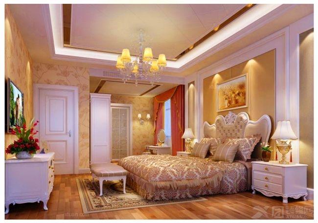 三室两厅简欧风格主卧室卧室背景墙图片