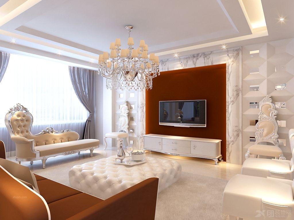 复式楼欧式风格客厅电视背景墙_天宇宏府装修效果图-x图片