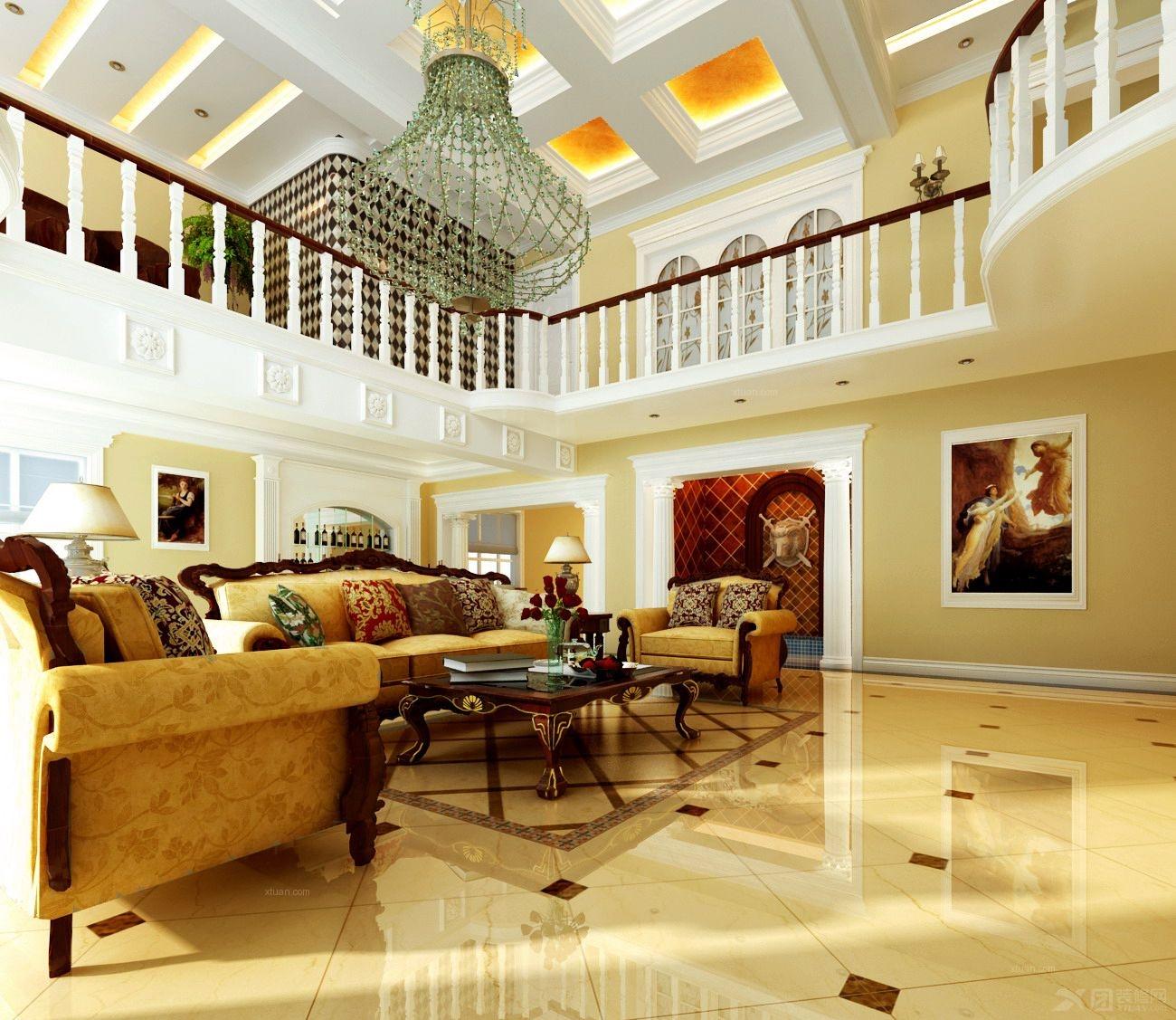 独栋别墅简欧风格客厅沙发背景墙
