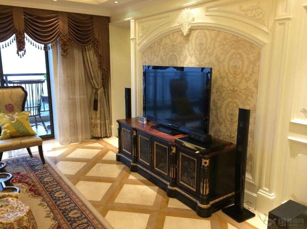 三居室古典风格客厅电视背景墙