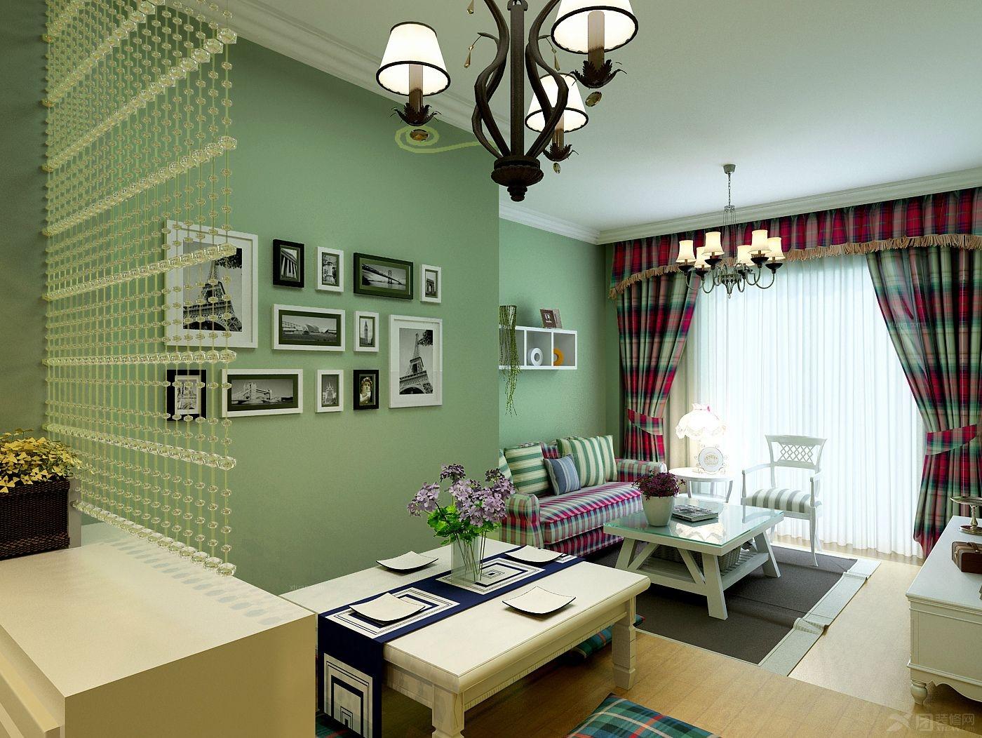 两居室田园风格客厅沙发背景墙