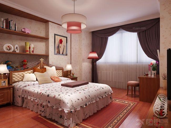 三室两厅中式风格卧室_省公务员小区装修效果图-x团图片