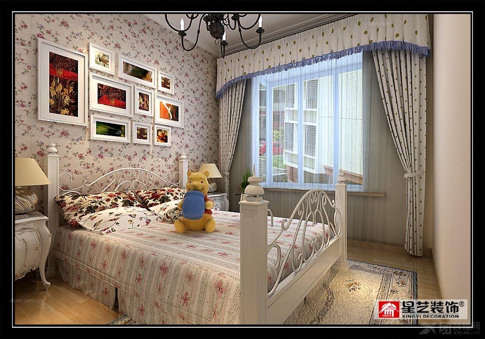 三室两厅新古典小卧室软装_东晖国际_现代中式装修图图片