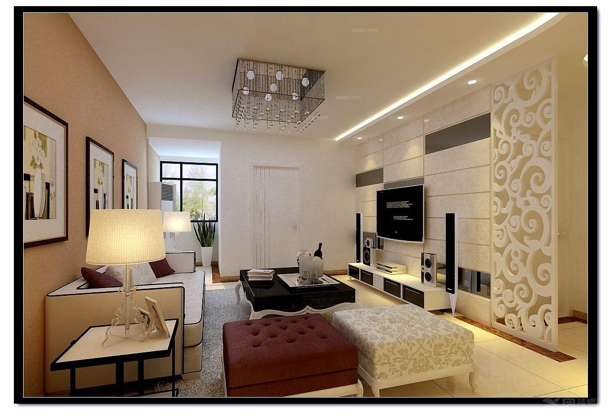 两室两厅简欧风格客厅电视背景墙_北部时光装修效果图图片