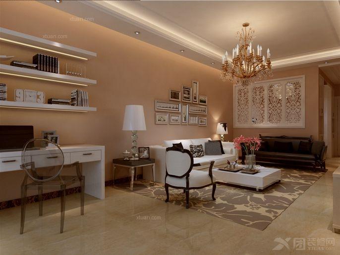 三居室欧式风格客厅沙发背景墙_泛亚国际逸境装修效果