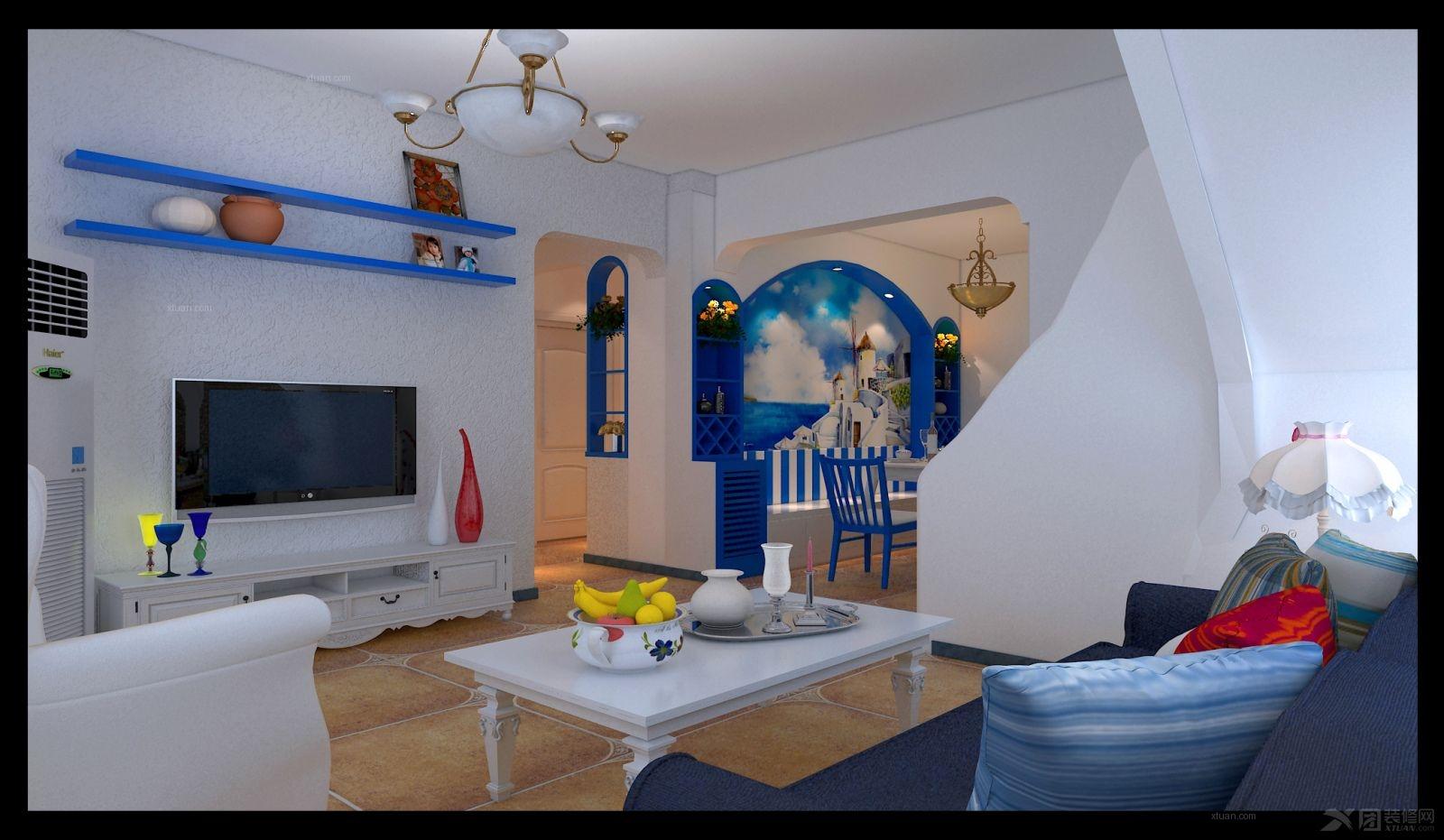 复式楼地中海风格客厅电视背景墙