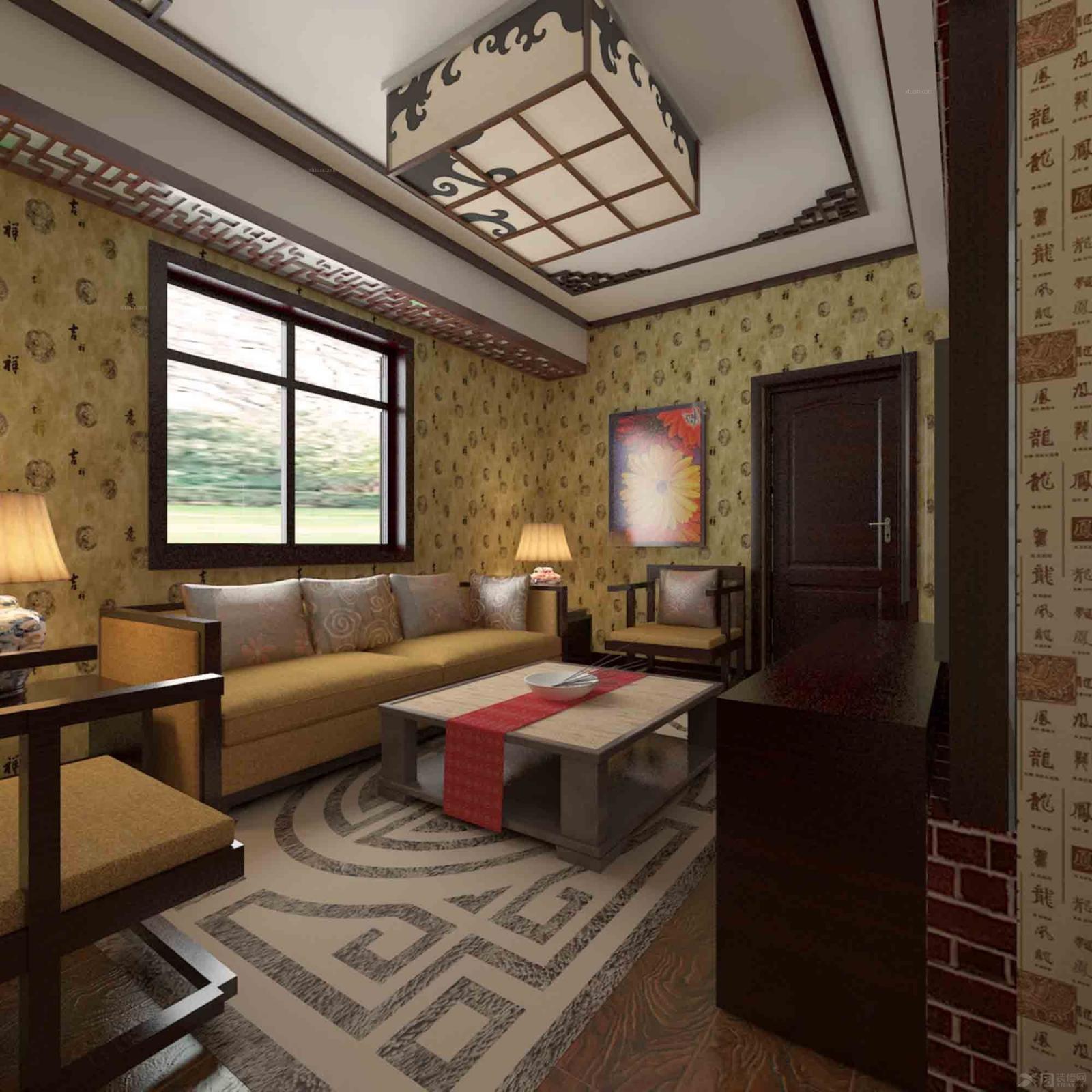 两居室中式风格客厅_天华里装修效果图